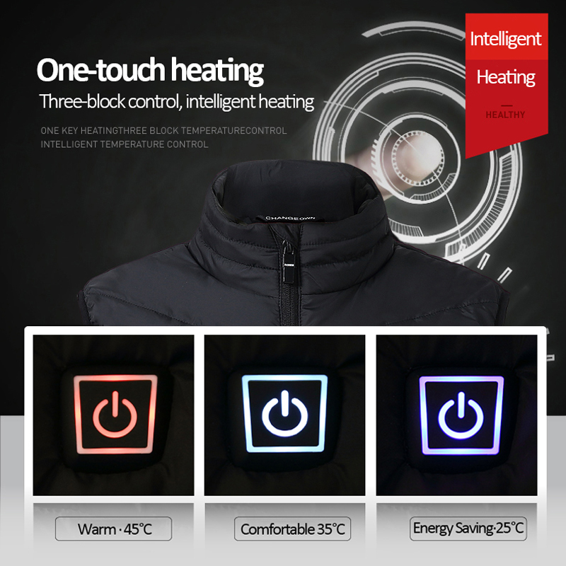 2020 Men Outdoor USB Infrared Heating Vest Jacket Men Women Winter Electric Thermal Clothing Waistcoat For Sports Hiking 4