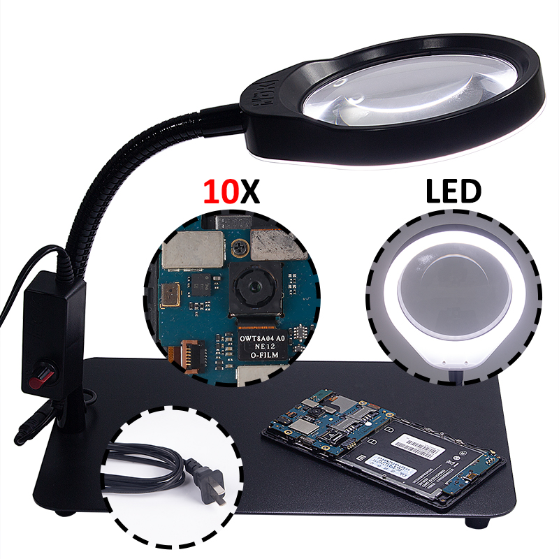 Desk Magnifying Glass With Led Lights Support Lamp 3X 5X 8X 10X Electronic illuminated Magnifier For Reading Phone Repair Loupe