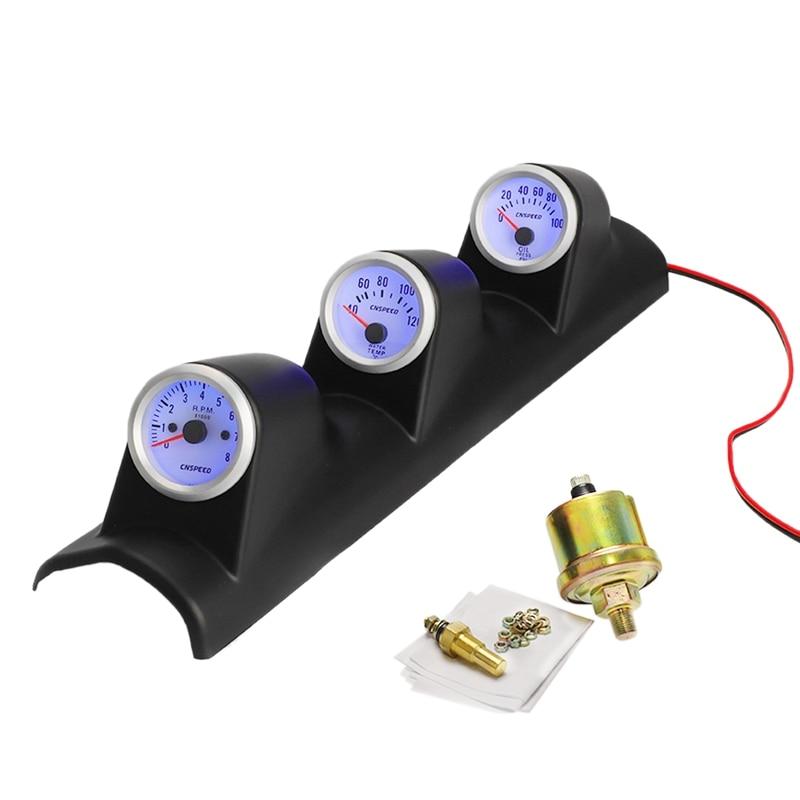 12V Universal 3 in 1 52MM Car Auto Tachometer RPM+ Water Temp Gauge +Oil Press Pressure Gauge