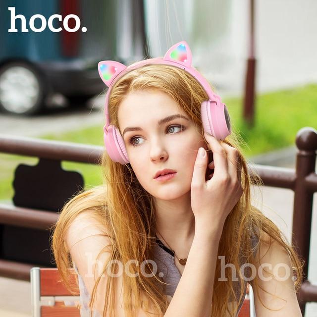 HOCO LED หูฟังบลูทูธสาวชุดหูฟังสำหรับโทรศัพท์ PC แล็ปท็อปเด็กหูฟัง TF Card 3.5 มม.ปลั๊กไมโครโฟน