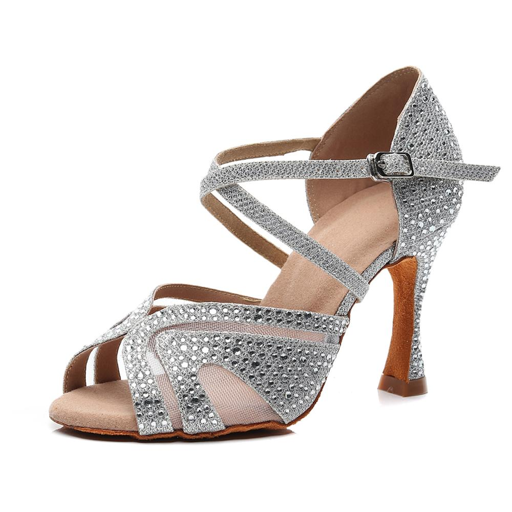 Woman Ballroom Latin Dance Shoes Female Salsa Tango Social Party Dance Shoes Soft Sole High Heels 7.5/8.5cm VA30