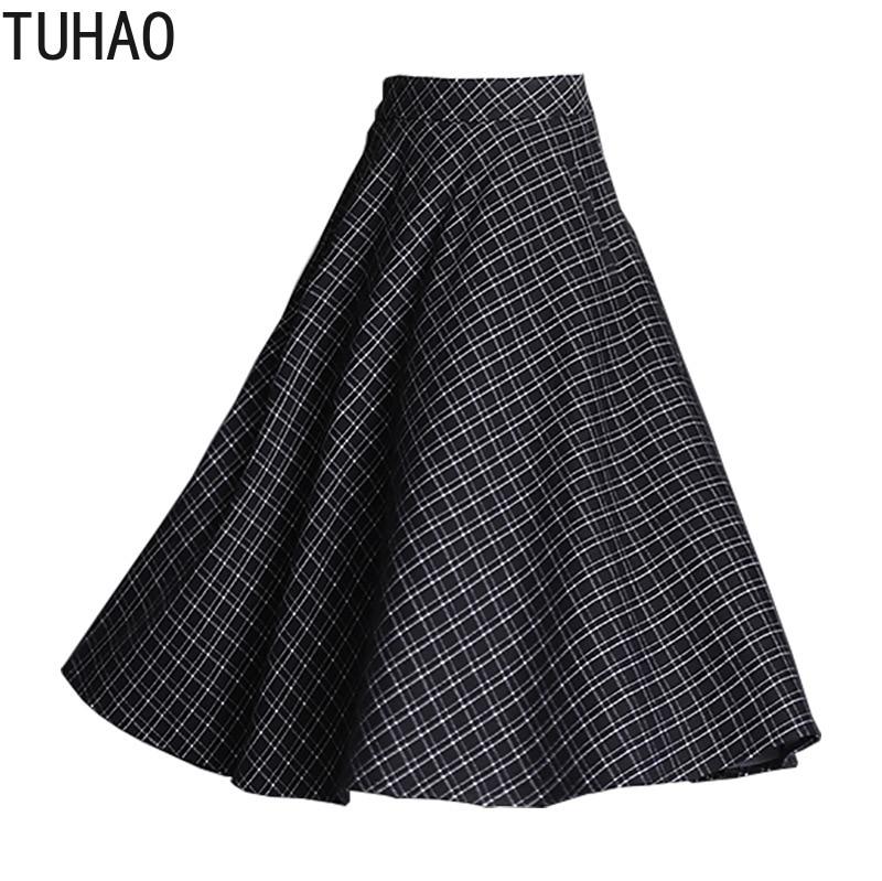 TUHAO 2021 femmes Vintage élégant demi-longueur jupe pour mère maman grande taille 4XL 3XL haute Wasit femme jupes vêtements WM14