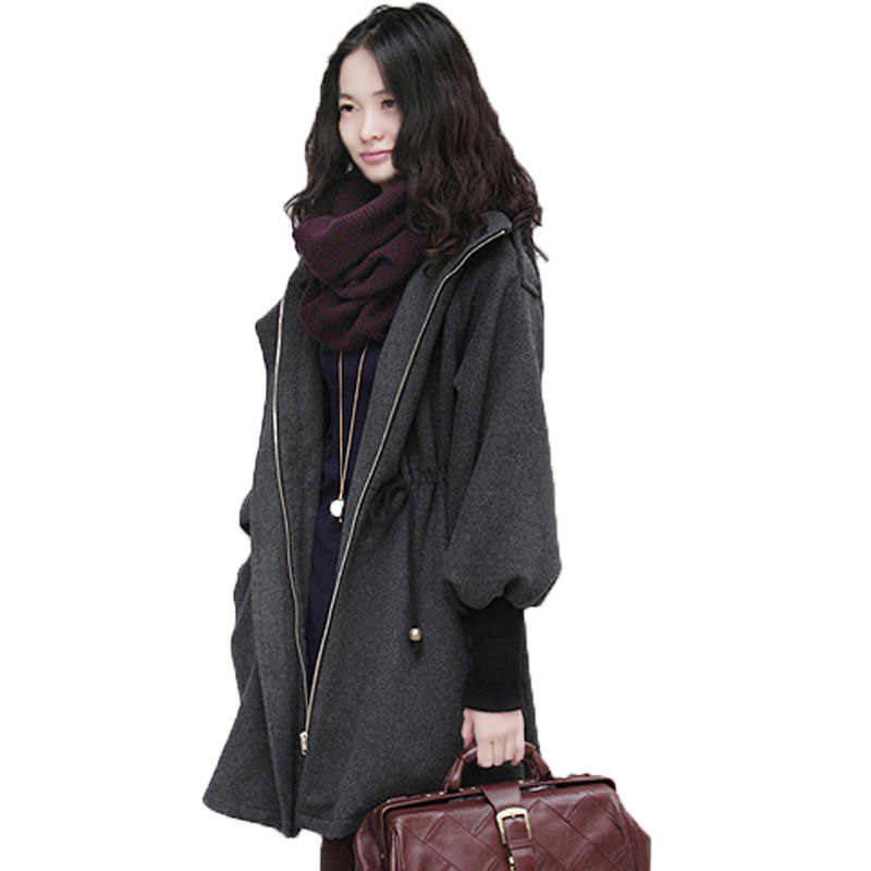 Women's Woolen Coat Women's Korean Version Large Size Loose Casual Woolen Windbreaker Autumn Winter Cashmere Coat Ladies A548