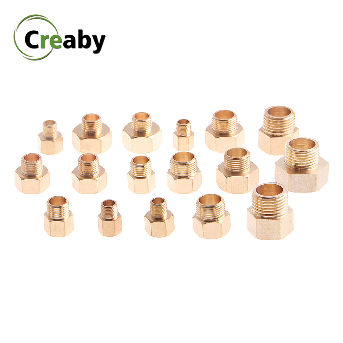 "Copper M/F 1/8"" 1/4"" 3/8"" 1/2"" 3/4"" BSP Male To Female Thread Brass Pipe Fitting Coupler Adapter Hex Pipe Connector Water Gas"