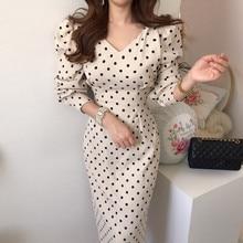 Francês temperamento estilo primavera e outono senhoras casual polka dot impressão cintura emagrecimento veludo vestido elegante renda ajuste fino