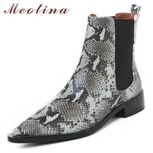 Купить с кэшбэком Meotina Autumn Chelsea Boots Women Natural Genuine Leather Flat Ankle Boots Snake Print Pointed Toe Shoes Ladies Plus Size 33-42