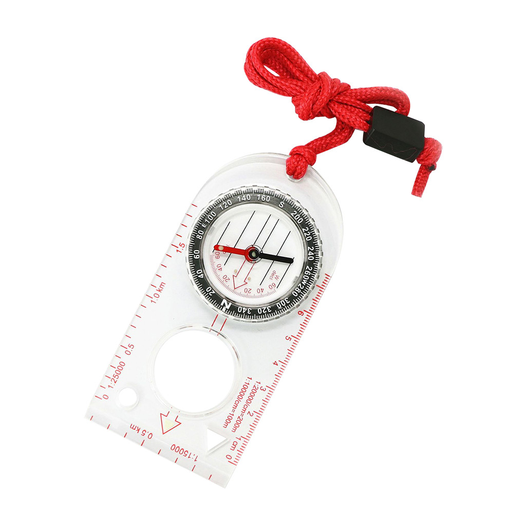 1PC Magnifying Compass Ruler Scale Scout Hiking Camping Boating Orienteering Map