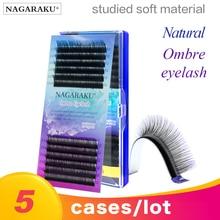 Gorąca sprzedaż NAGARAKU 5 przypadki rainbow lash kolor lash kolor lash ombre syntetyczny norek miękkie naturalne norek indywidualne przedłużanie rzęs