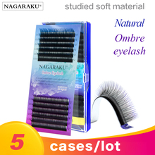 HOT SALE NAGARAKU 5cases rainbow lash color lash colour lash ombre synthetic mink soft natural mink individual eyelash extension