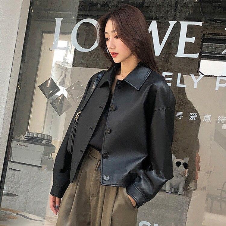 Женская кожаная куртка Haining, осенне зимняя короткая куртка из овечьей кожи в Корейском стиле, 2020|Кожаные куртки|   | АлиЭкспресс