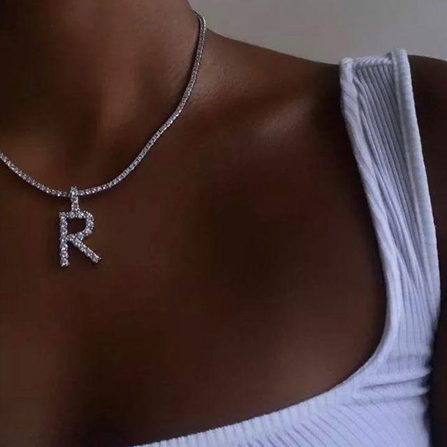Boho Дешевые Письмо A-Z Стразы проложить первоначальное имя ожерелье кулон без цепи Шарм ювелирные изделия для мужчин и женщин в стиле «хип-хоп...