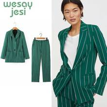 women blazer suit autumn fashion office lady blazers long sleeve stripe single button jacket outerwear and  Tops