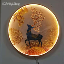 Chinese Style LED Wall Lights Deer Fish Bird Flower Living Room Restaurant Aisle Wall Sconce Round Light Fixtures Home Deco