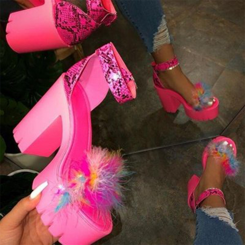 Woman Furry Sandals Female Fur Platform Shoes Women Ankle Strap Square Heels Ladies Casual Summer Women