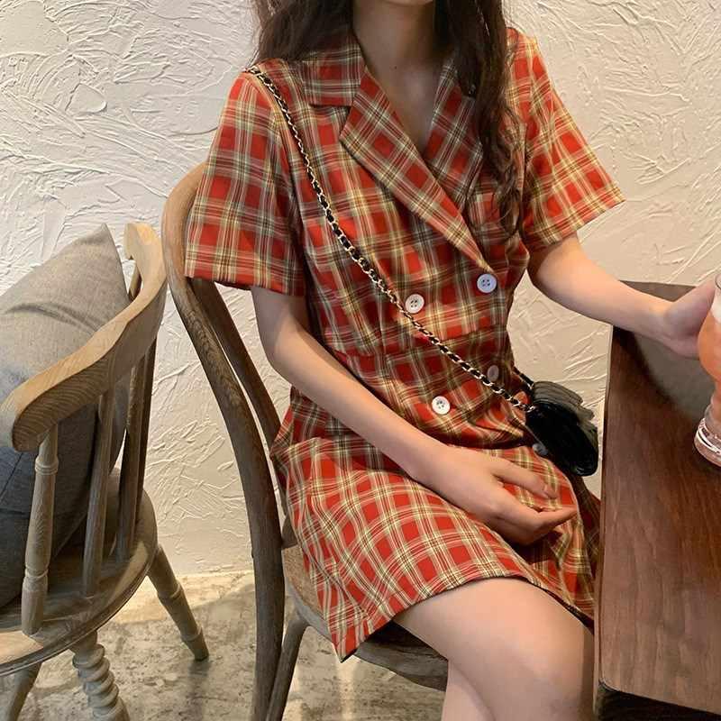 Bella philosophy damskie Retro garnitury w kratę sukienka kobiet ząbkowany z długim rękawem Plaid Blazer sukienka Casual długie biuro Mini sukienka