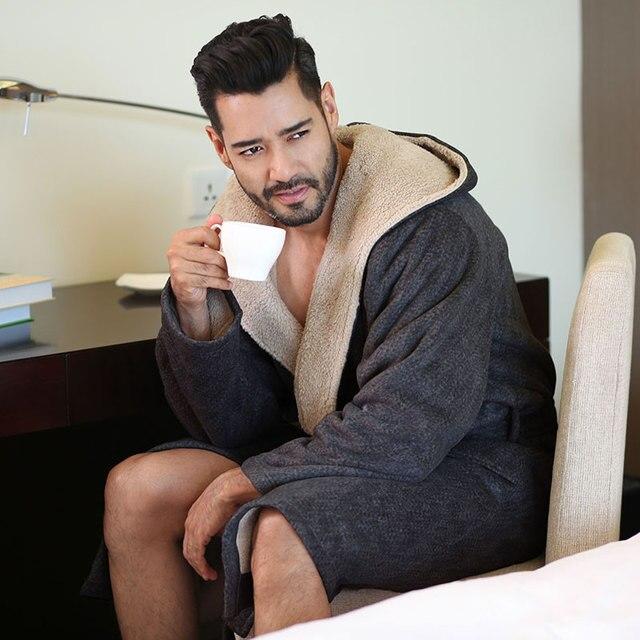 2019 New Winter Men Bathrobes Hooded Flannel Long Bath Robe Male Comfort Gray Long Home Warm Dressing Gown Vs Tmall 1