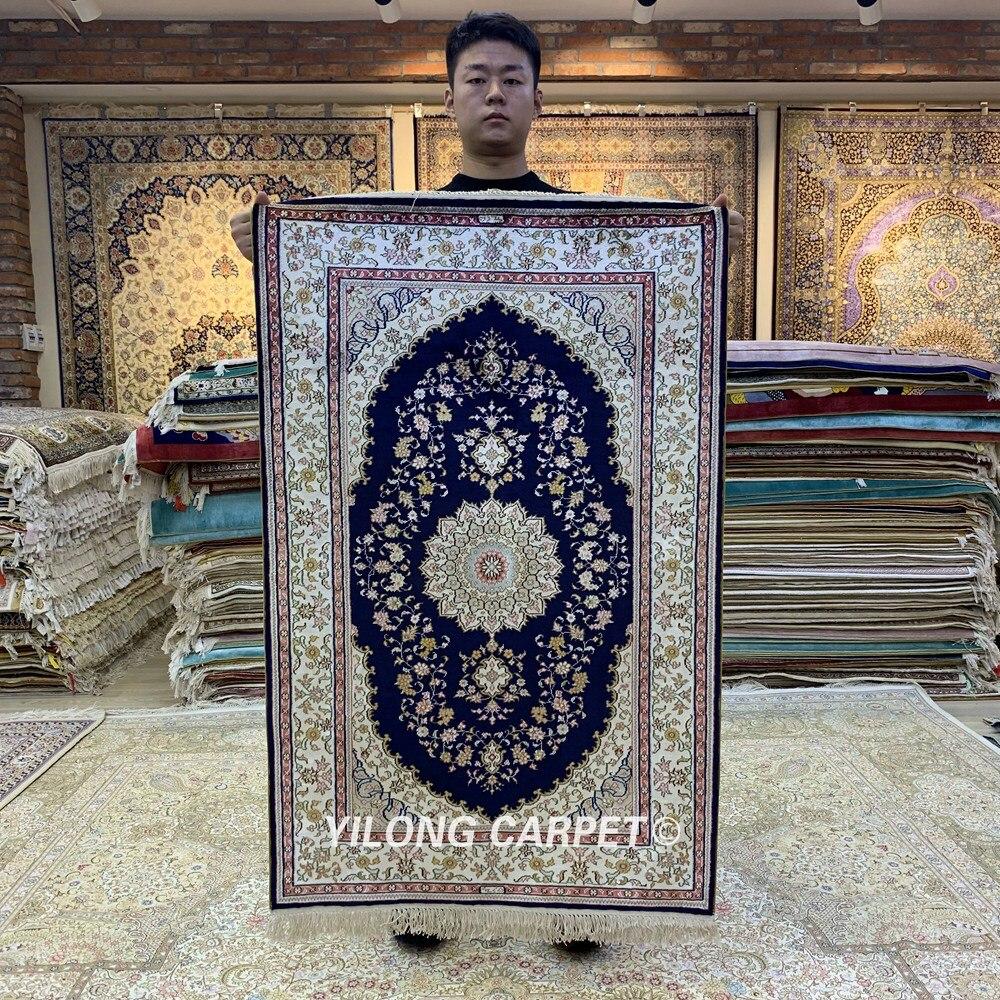 Yilong 2.5 'x4' bleu zone tapis persan chambre luxe soie noué à la main tapis (HF195B)