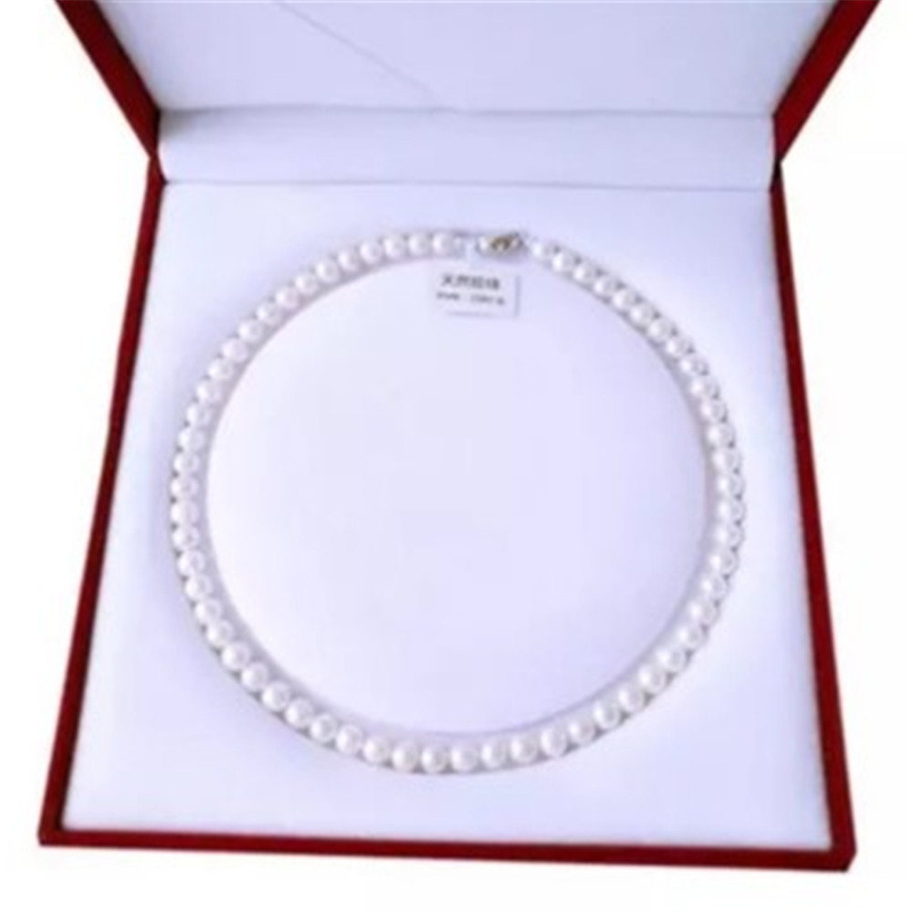 1pc freshwater White South Sea Shell pearl necklace stones Round Beads Flower Clasp for women 8MM pearl jewelry 3
