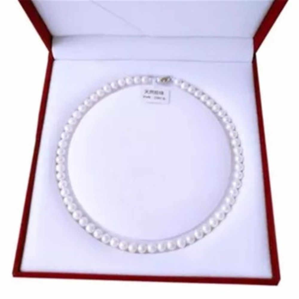 1 pieza de agua dulce blanco perla de concha del Mar del Sur collar piedras redondas perlas broche de flores para mujeres 8MM perla joyería
