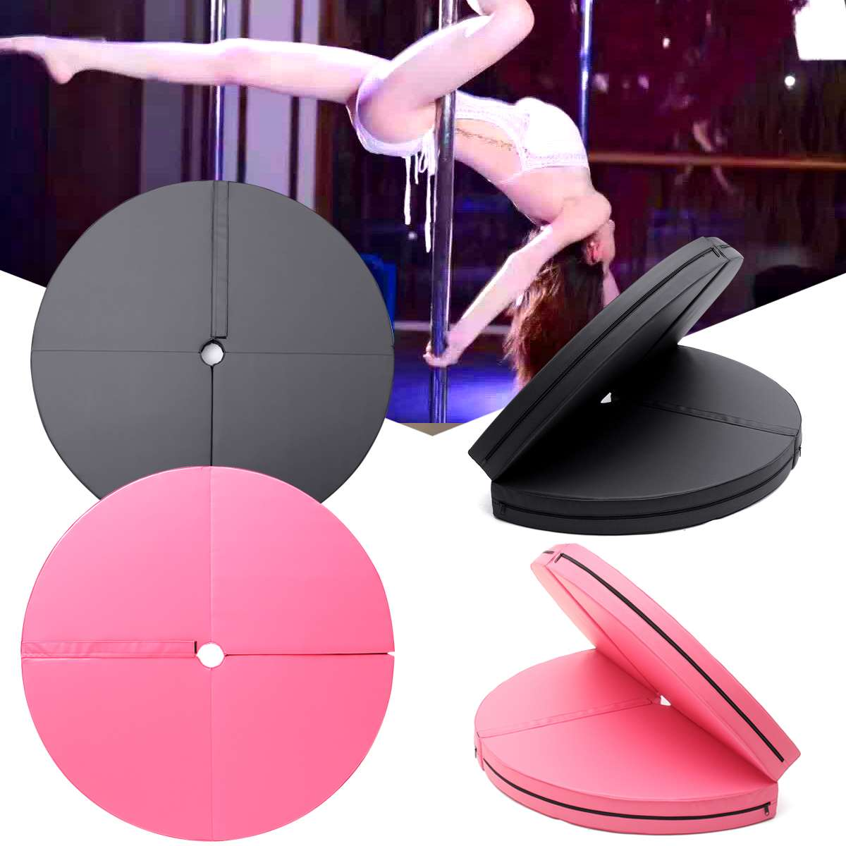 Foldable Pole Dance Carpet Mat Round Cotton Yoga Mats For Fitness Tasteless Gym Exercise Sport Safety Mats Protector Pads Women