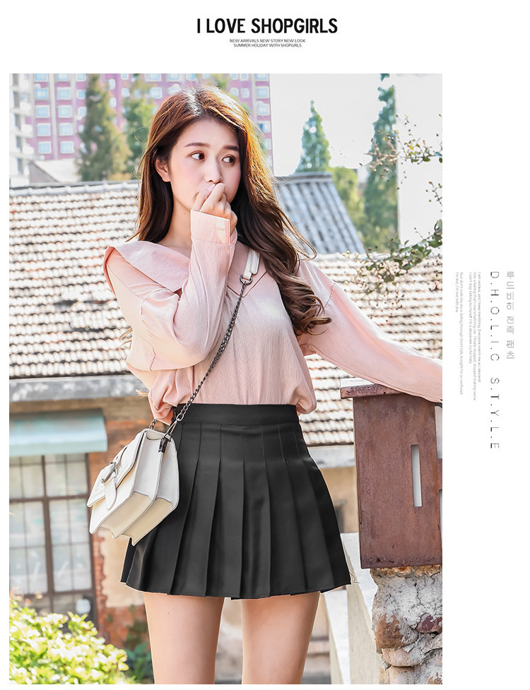 XS-XXL High Waist A-Line Women Skirt Striped Stitching Sailor Pleated Skirt Elastic Waist Sweet Girls Dance Skirt Plaid Skirt 73