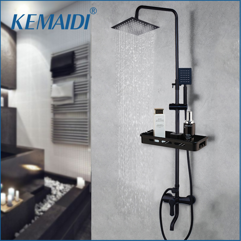 KEMIDI Matte Black Rainfall Shower Faucet Set Single Lever Bathtub Shower Mixer Faucet & Storage Shelf  Shower Mixer Water Tap