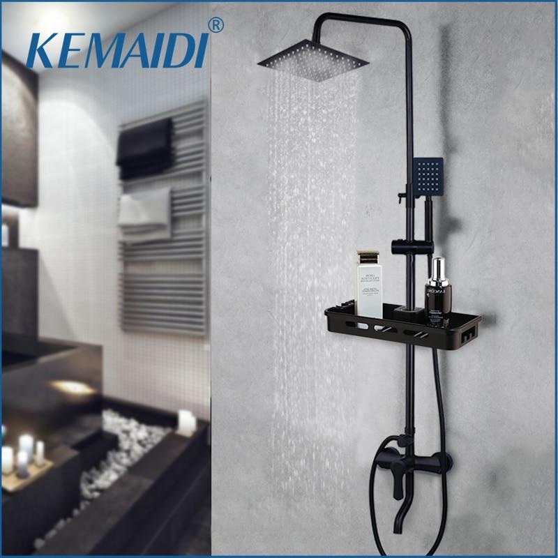 KEMIDI Matte Black Rainfall Shower Faucet Set Single Lever Bathtub Shower Mixer Faucet & Storage Shelf  Shower Mixer Water Tap