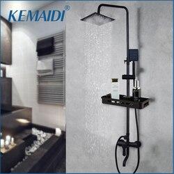 KEMIDI, juego de grifería de ducha de lluvia negra mate, Palanca única, bañera, mezclador de ducha, grifo y estante de almacenamiento, mezclador de ducha, grifo de agua