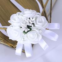 1 Wedding Decoration White Flower Bride Girl Bridesmaid Floral Hand Wrist Corsage Ribbon Tie Bracelet Ceremony Party