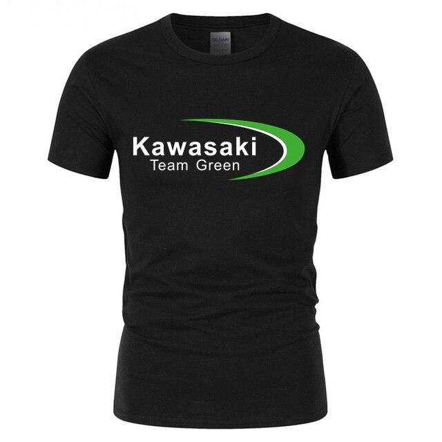 Summer Men T-shirt Kawasaki Ninja Team Green Mens Tshirt Gyms Workout Male T Shirt Tee Youth Beach Surfing Hipster Topshirts