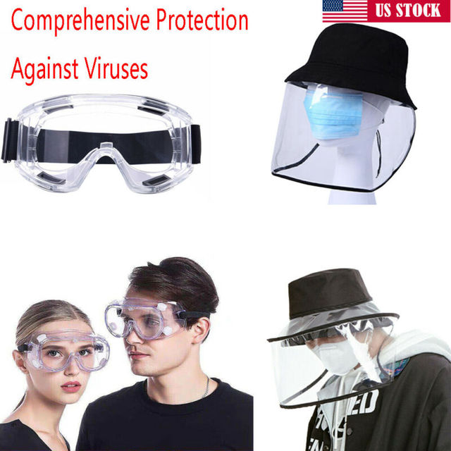 Anti-viru Safety Goggles Over Glasses Soft Clear PC Transparent Protective Cap Plastic Anti-fog Saliva Hat Full Face Shields