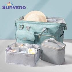 3pcs/set Sunveno Large Capacity Baby Nappy Bag Waterproof Diaper Bag Fashion Mother Shoulder Backpack Maternity Baby Travel Bag