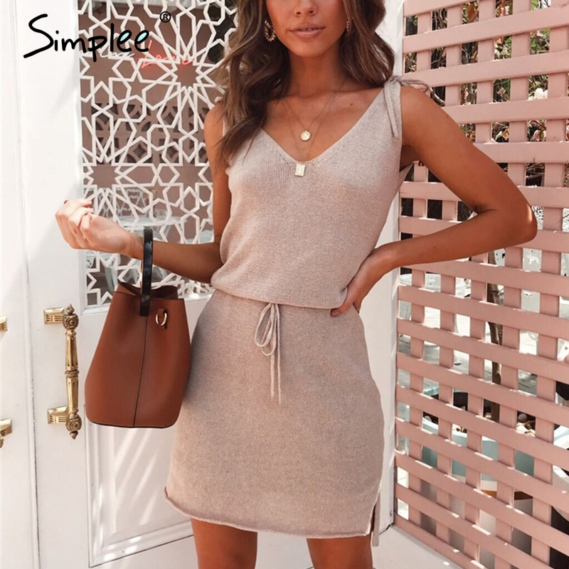 Simplee Elegant v neck solid women short <font><b>dress</b></font> Knitted <font><b>lace</b></font> up <font><b>female</b></font> straight ladies <font><b>dresses</b></font> <font><b>Sexy</b></font> ladies <font><b>party</b></font> <font><b>dress</b></font> vestidos image