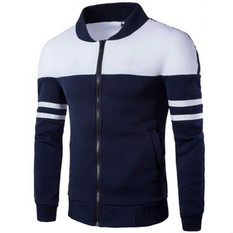 Adam spor ceket spor erkekler Golf ceketler ceket çizgili Patchwork Slim Fit ceket artı boyutu M-4XL koşu ceketler erkek