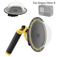 Novos acessórios à prova dwaterproof água capa de mergulho dome + handheld monopod bobber flutuante montagem para gopro hero 9 8 hero7 6 5 montagens câmera
