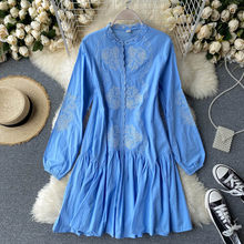 Robe trapèze brodée en dentelle pour femmes, vêtement français rétro, col rond, manches bouffantes, à volants, ample, PL425, automne