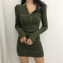 Estilo outono vestido de manga longa mulher de malha sexy moda marca senhoras bodycon mini-vestido vestidos femininos novo quente