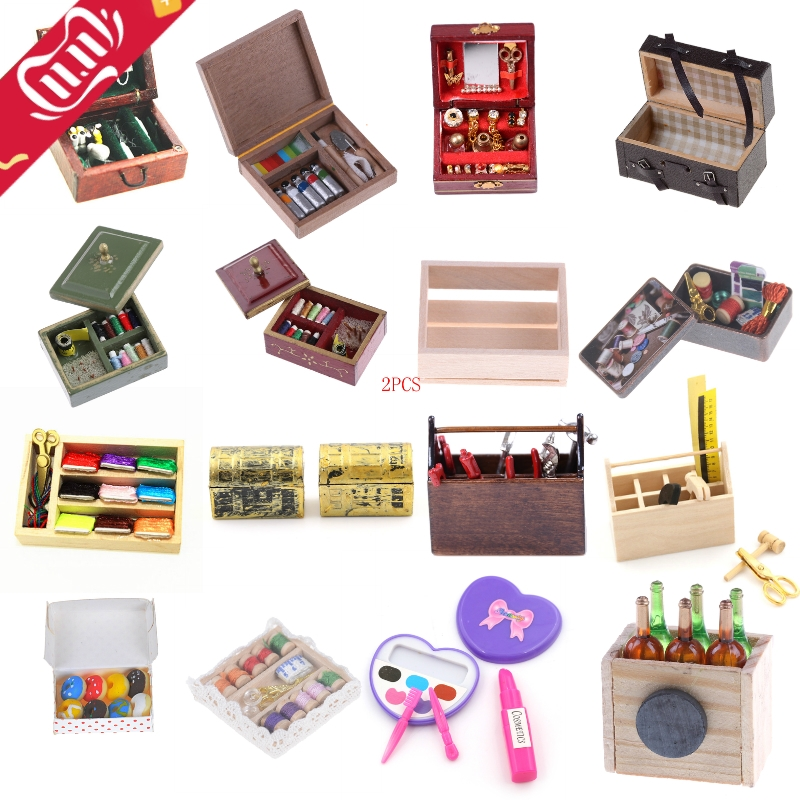Kitchen Wooden Box/Doughnut/Paint/Medical/Needle/Jewelry/Suitcase/Toolbox/Wine/Makeup/Sewing Miniature DIY 1:12 Accessories