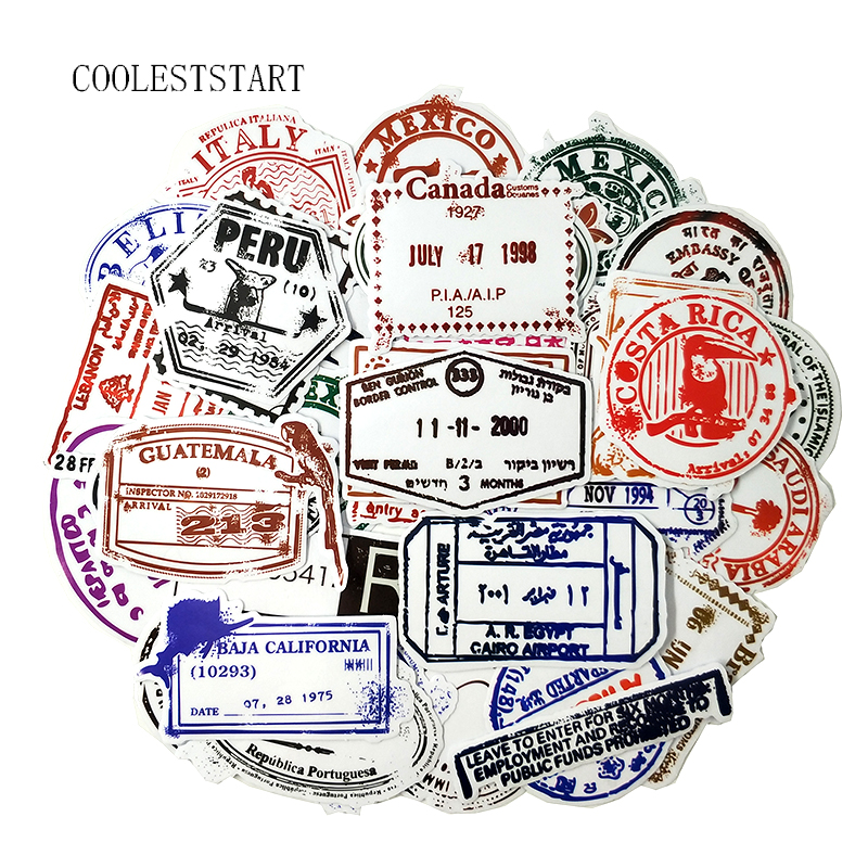50Pcs/Lot Postmark Graffiti Stickers Stamp For Notebook Suitcase Refrigerator Motorcycle Accessories Travel Style Sticker