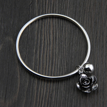 925 Sterling Silver Thai Craftsman Handcrafted Bracelet for Old Simple New Trendy Rose Ladys Accessories