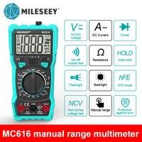 Mileseey-multímetro Digital NCV de rango automático, medidor de voltaje CA/CC, luz Flash, pantalla grande