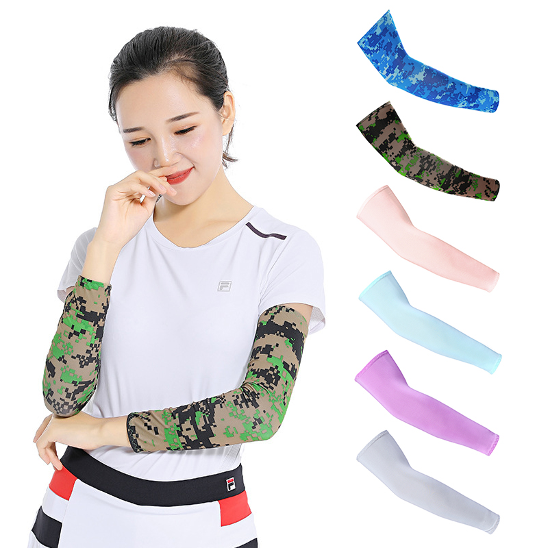 running - 2Pcs Sports Arm Compression Sleeve Basketball Cycling Arm Warmer Summer Running UV Protection Volleyball Sunscreen Bands