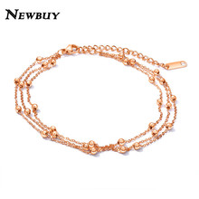 Multilayer Stainless Steel Anklets For Women Silver/Rose Gold Color Beads Ankle Bracelets Wholesale