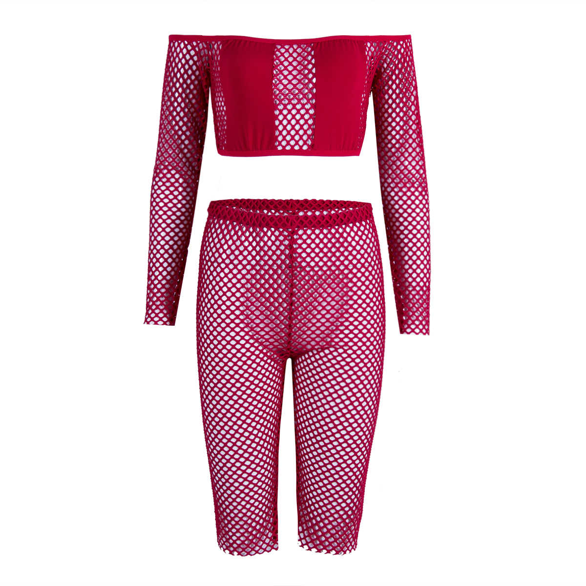 Neue Mode Frauen Push Up Top + Fishnet Shorts Bademode 2Pcs Mesh Langarm Solide Slash Neck Sets
