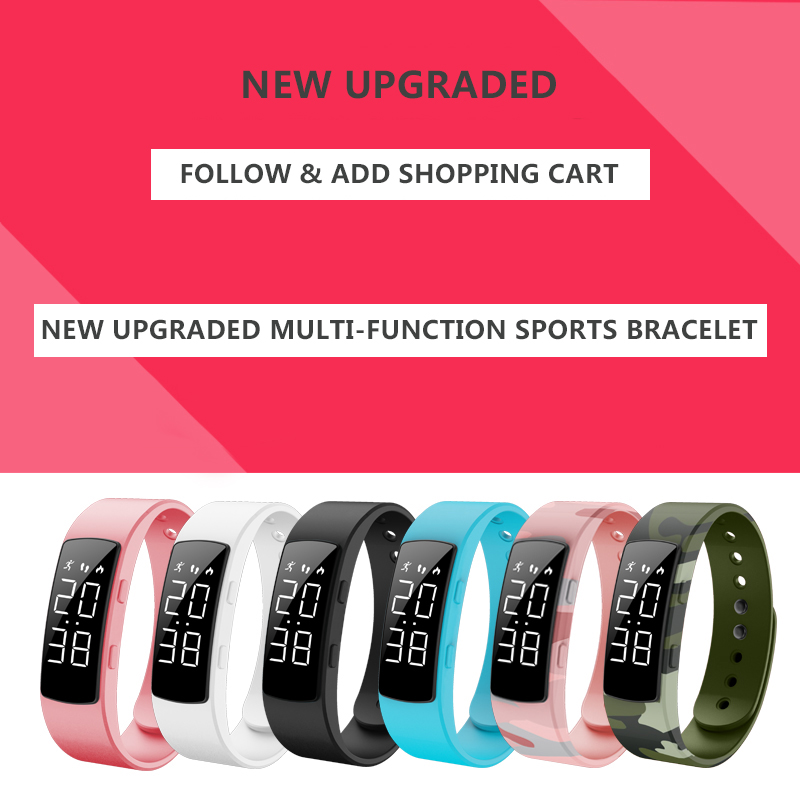 New Women Smart Electronic Bracelet Pedometer Sports Digital Watches Fashion Camouflage Alarm Clock Calorie Fitness Wristband