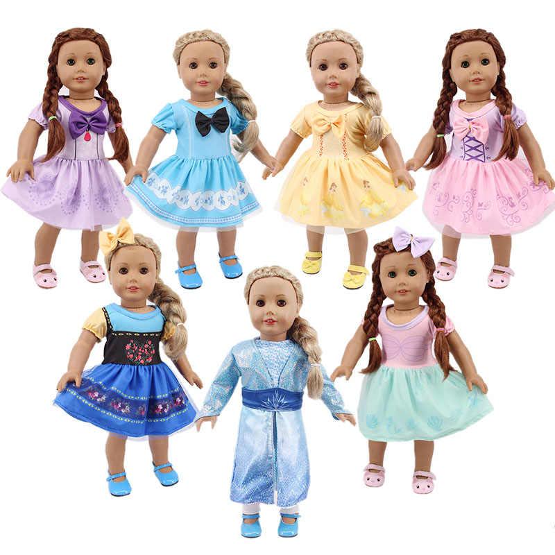Кукла Принцесса Disneys Frozening милое платье подходит для 18 дюймов американский и 43 см Новорожденный ребенок, наше поколение, день рождения девочка игрушка подарок