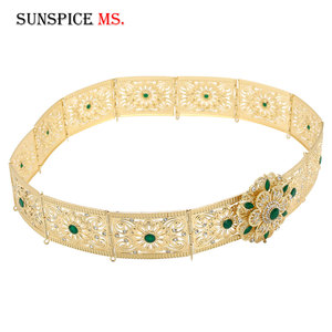 Image 3 - Sunspicems Moroccan Belt Caftan Jewelry for Women Gold Color Red Green Crystal Belly Chain