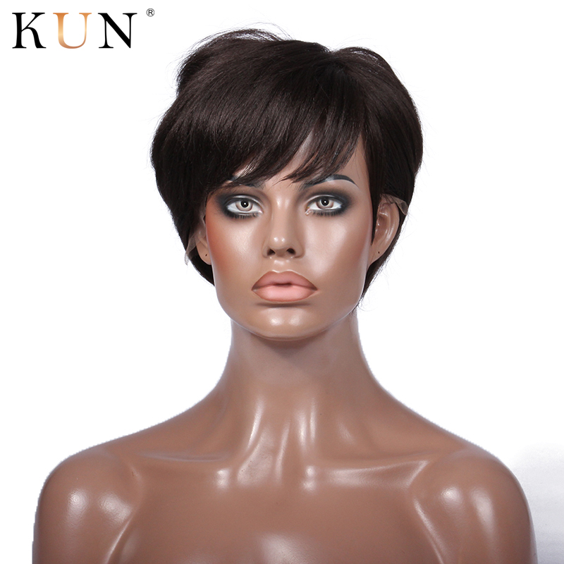 Pixie Cut Wigs 150 Density Short Human Hair Wigs Straight Hair Wig Pre Plucked Free Part Brazilian Remy None Lace Wig For Women
