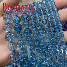 AAAAA Naturel Bleu Topazs Perles Perles De Cristal Bleu Perles En Pierre Naturelle Pour La Fabrication De Bijoux Collier À Faire Soi-Même Bracelet 4/6/8/10/12mm 15
