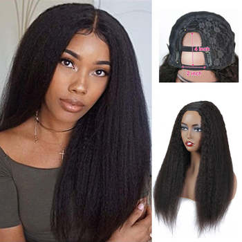 Morichy DIY U Part Full Wig Kinky Straight Malaysian Non-Remy Real Human Hair 150% Density Glueless Emo Goth Punk Hairstyle Wigs